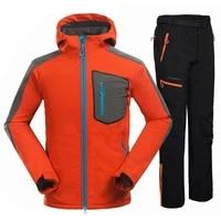 new 2021 male soft shell jacket pants waterproof warm mountain camping hiking pants outdoor fleece breathable windbreaker coat