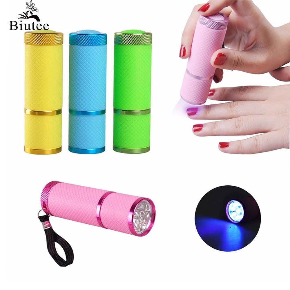 Clavo Biutee secador Mini linterna LED lámpara UV portátil para uñas Gel secado rápido cura 4 colores elegir uña cura en Gel HERRAMIENTA DE MANICURA