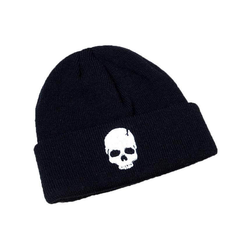 Зимняя Модная вязаная шапка с черепом индивидуальная шапка в стиле хип-хоп модная шерстяная шапка мужская осенняя