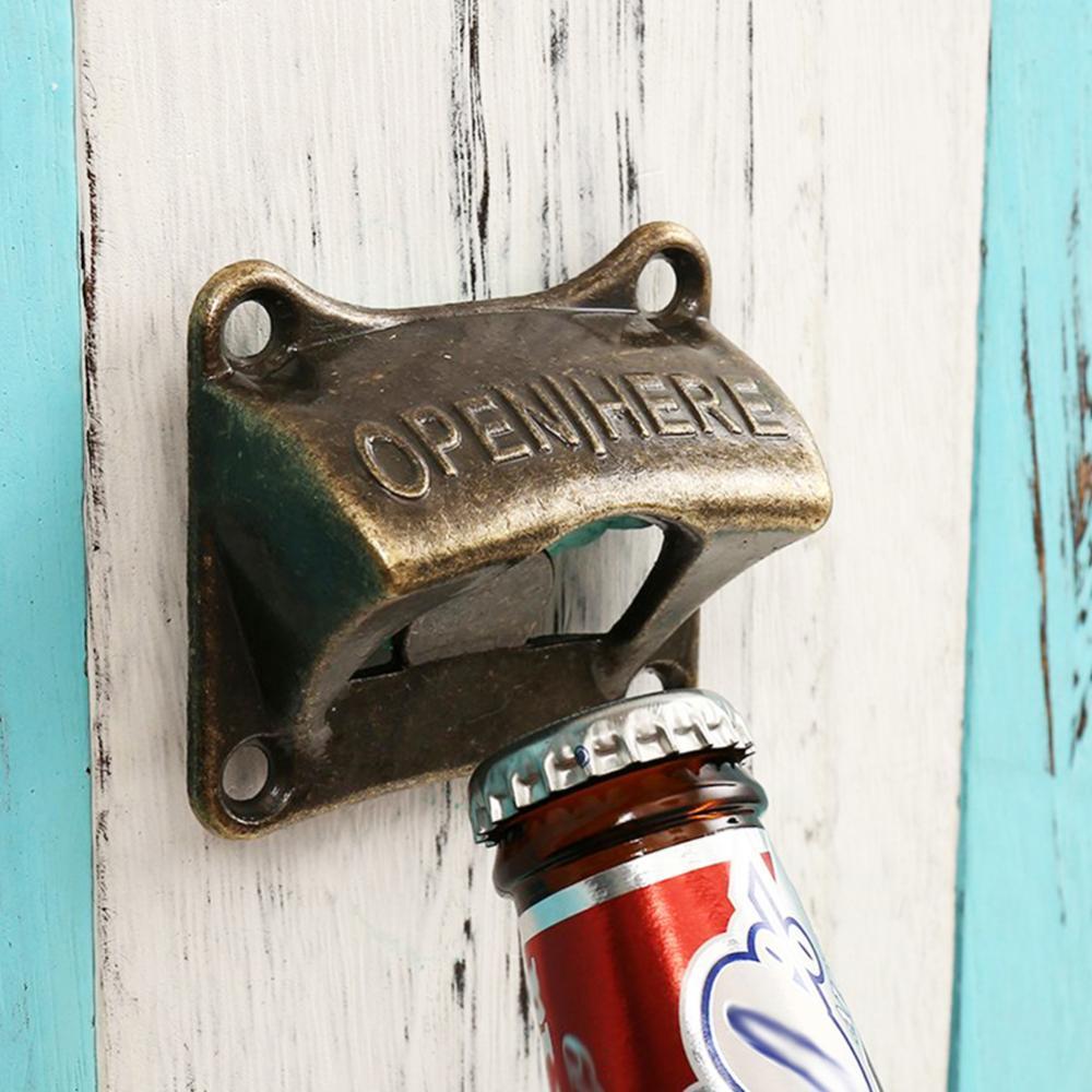 Vintage Wall Mount Beer Bottle Opener Antique Style Cola Soda Glass Cap