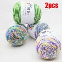 2pcs rainbow color hand woven yarn soft crochet thick yarn for hand knitting warm sweater sofa cushion scarf diy