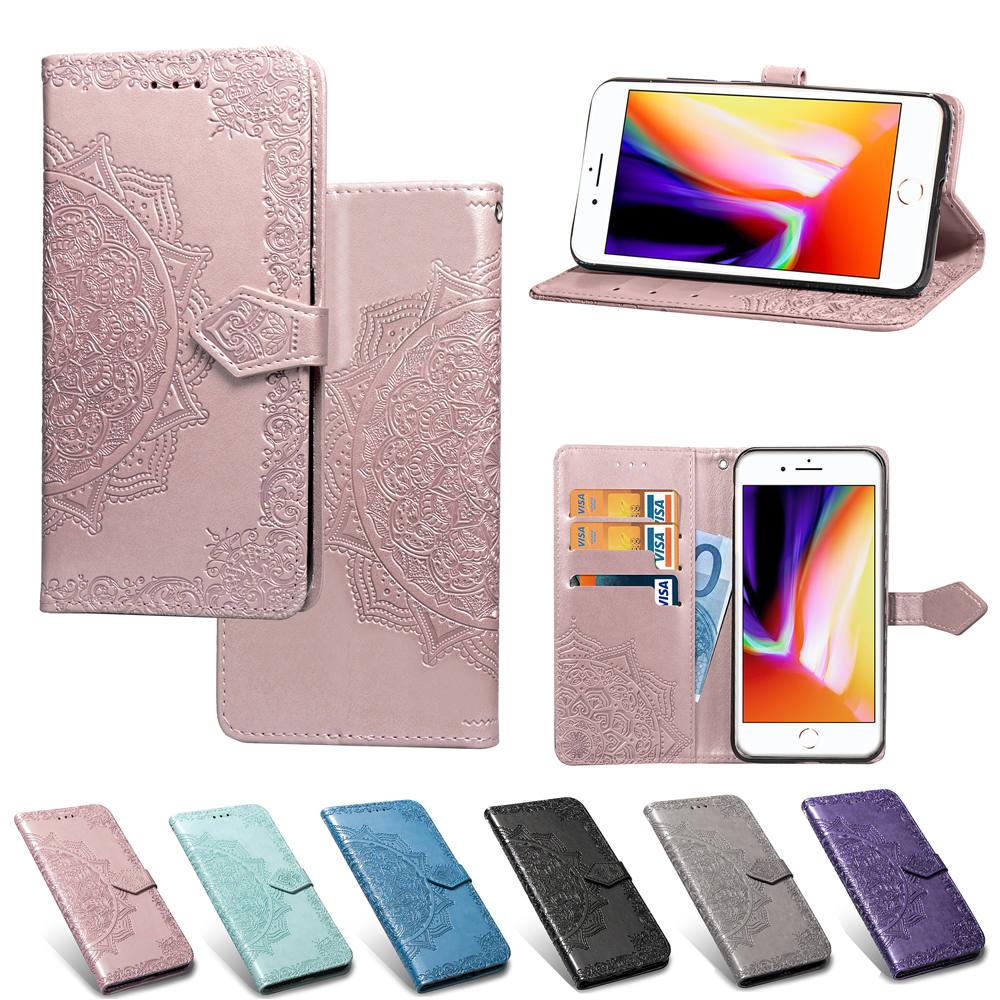 Para o iphone se 2020 caso de couro 3d mandala flor em relevo carteira caso livro de couro para apple iphone se 2020 4.7 polegada