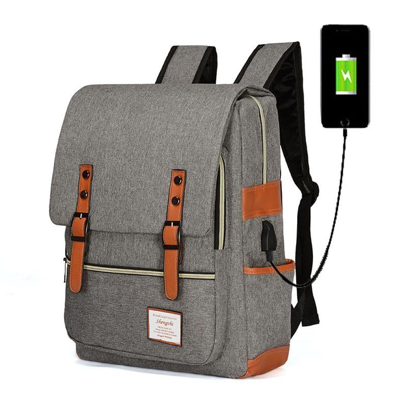 خمر الرجال النساء أكسفورد USB الظهر الحقائب المدرسية للمراهقين الفتيان الفتيات كمبيوتر محمول قدرة كبيرة على ظهره الأزياء الرجال على ظهره