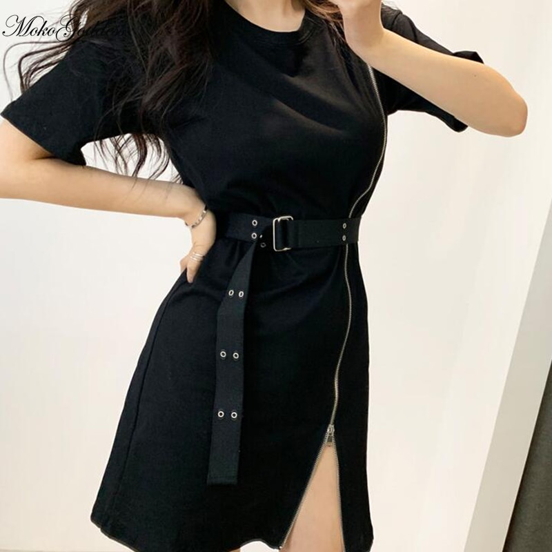Korean Style Designer Vintage Zipper Split Shirt Dress With Belt Women Sexy Gothic Short Sleeve Even