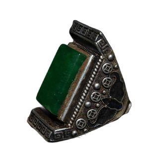 Chinese Old Craft Seiko Made Inlaid Jade Tibetan Silver Ring