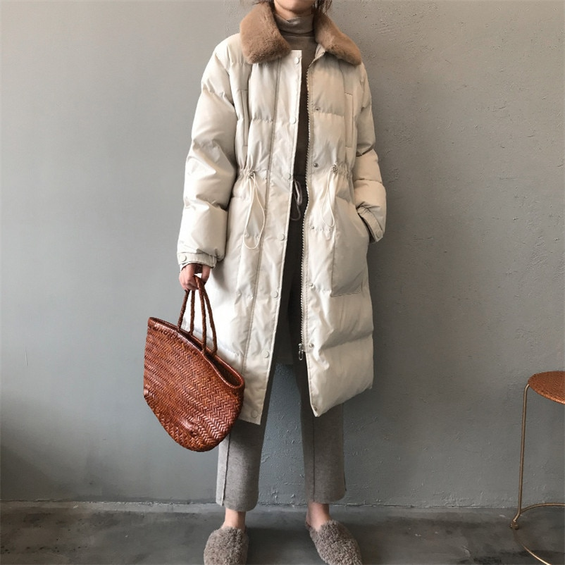 Winter Ladies Long Cotton Coat Y1981 Jacket 2020 Women's Thicken Parkas Slim Rabbit Fur Collar Warm Outerwear Women Coat Female