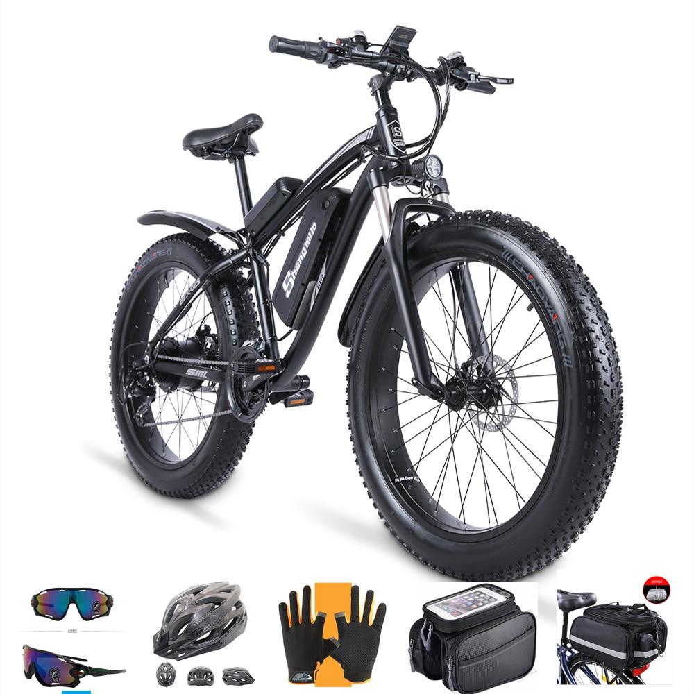 دراجة كهربائية 1000 وات دراجة ثلوج 48 فولت 17AH زيادة 26 بوصة بإطارات سميكة شنغ ميلو دراجة كهربائية