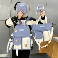 2021 fashion laptop backpack female middle school student five piece bookbag kawaii large capacity canvas school bags mochila
