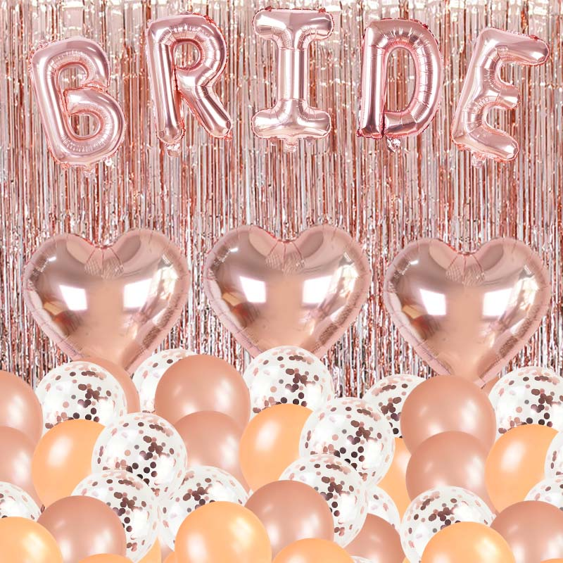26Pcs/set Rose Gold Bride Foil Balloons Confetti Latex Balloons with Tinsel Bridal Shower Bachelor Party Decor Wedding Supplies 72pcs mint green with gold confetti cake plates 7 premium quality paper plates wedding bridal shower engagement party supplies