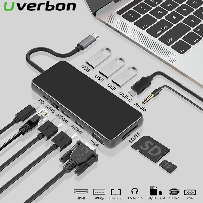 محول USB 12 في 1 من النوع C إلى متعدد USB 3.0 ، محول HDMI ، MacBook Pro ، Huawei Mate 30 Pro ، USB C 3.1