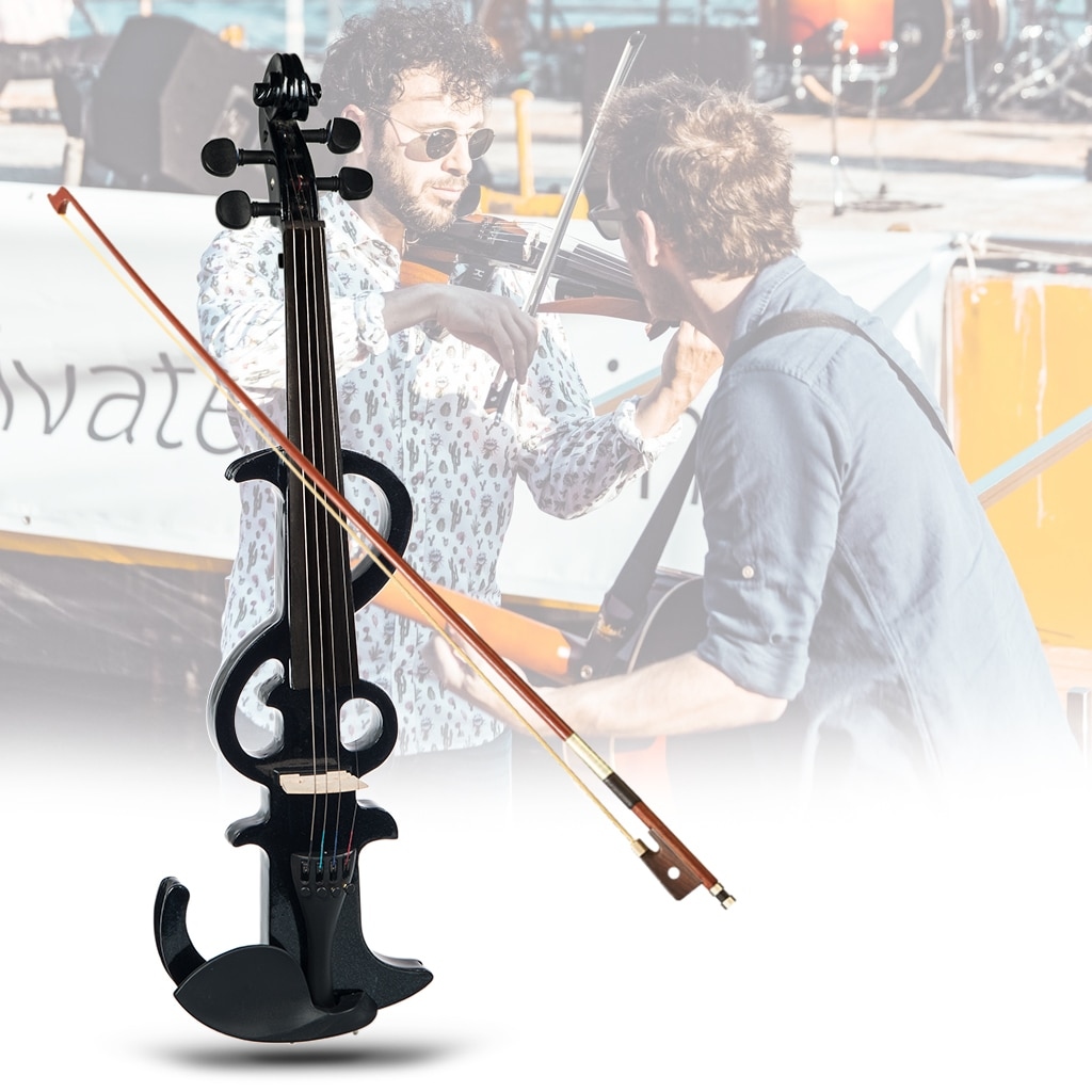 Full Size Electric Violin Right Handed Size 4/4 Size Violin Accessories W/Bow+Rosin+Bridge+Headphone+Cable+Case SET enlarge