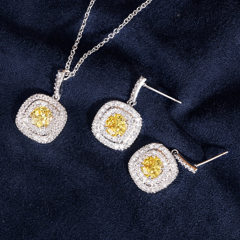 ZAKOL Classic White Color Square Shape Zirconia Crystal Earrings Necklace Set For Women Trendy Bridal Wedding Jewelry FSSP262