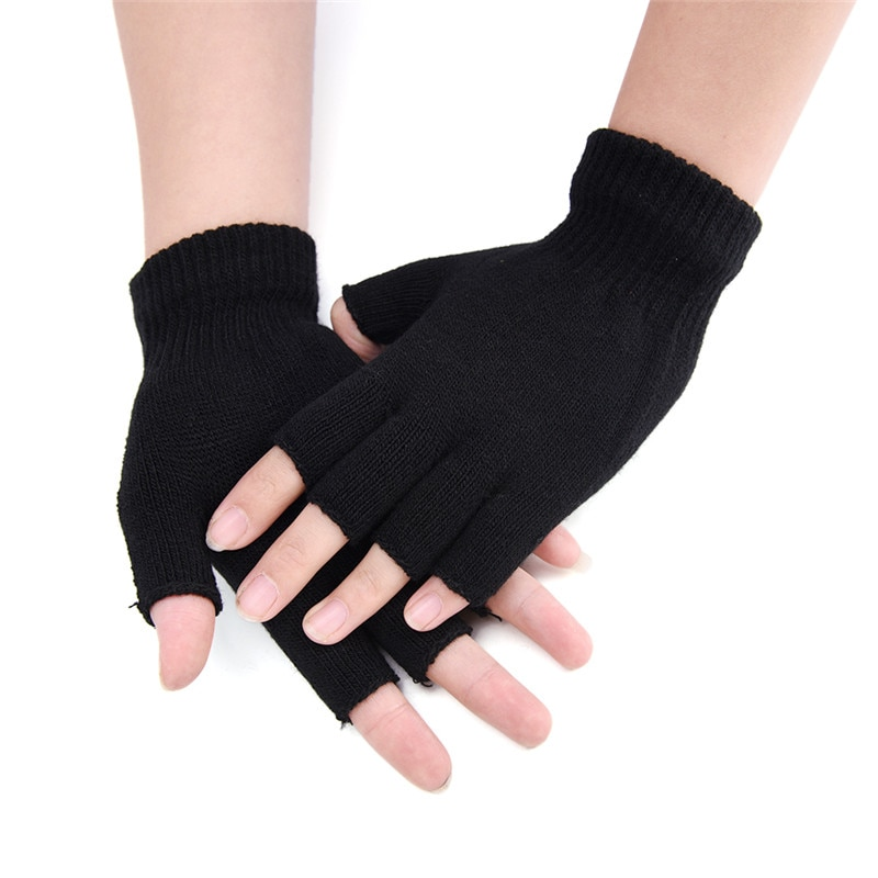 1 par feminino luvas sem dedos mitten malha outono inverno tela de toque crochê metade dos dedos adulto inverno quente