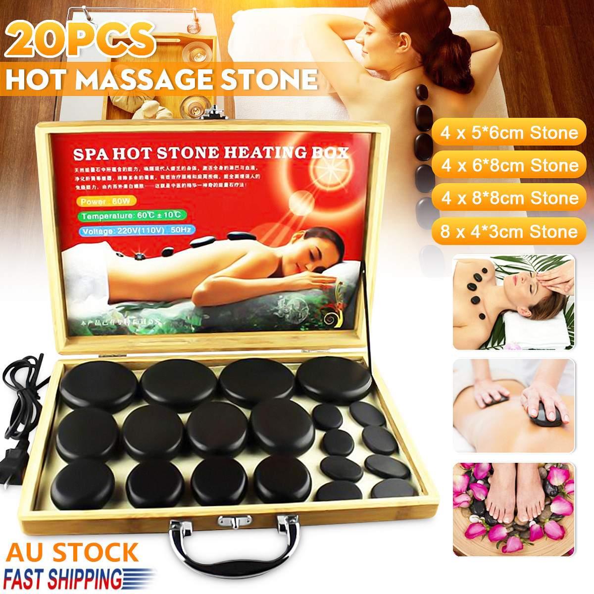 20 unids/set de masaje de piedra caliente caja calefactora para aliviar el estrés y el dolor de espalda cuidado de la salud acupresión piedras de basalto de Lava para el cuidado de la salud