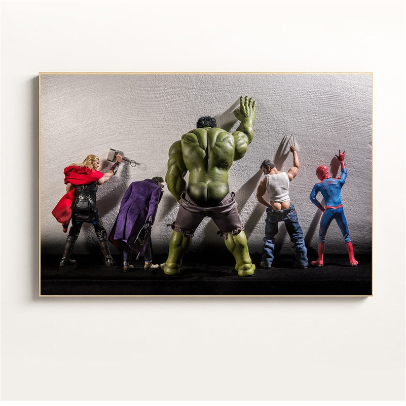 Drôle mur Art Marvel affiche nordique super-héros Secre vie quotidienne Hulk dans les toilettes toile peinture décoration de la maison enfants chambre décor
