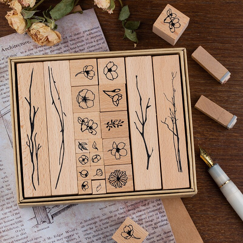 20PCS/LOT Wild Flowers Theme Wooden Stamps Set DIY Stcikers Stationery Notebook Art Planner Supplies