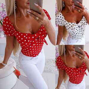 2020 Women Blouse Newest Hot Fashion Polka Dot Print Female Casual Summer Short Sleeve Sexy Lady O-Neck Bow Clothing