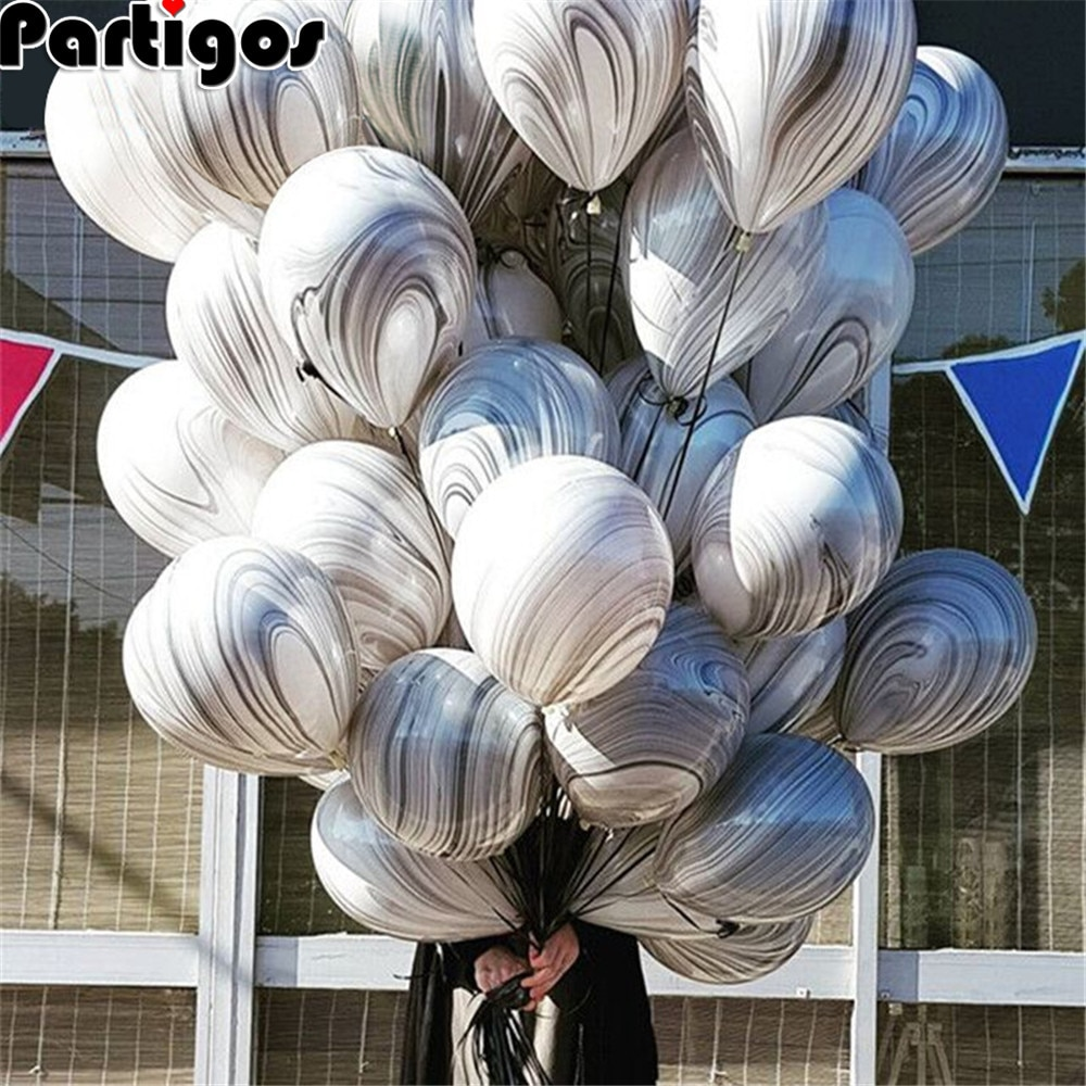 10 Uds. Globos de mármol de ágata de 10 pulgadas coloridos para boda Valetines Day, decoración para fiesta de cumpleaños, Baby Shower, suministros de decoración de ágata
