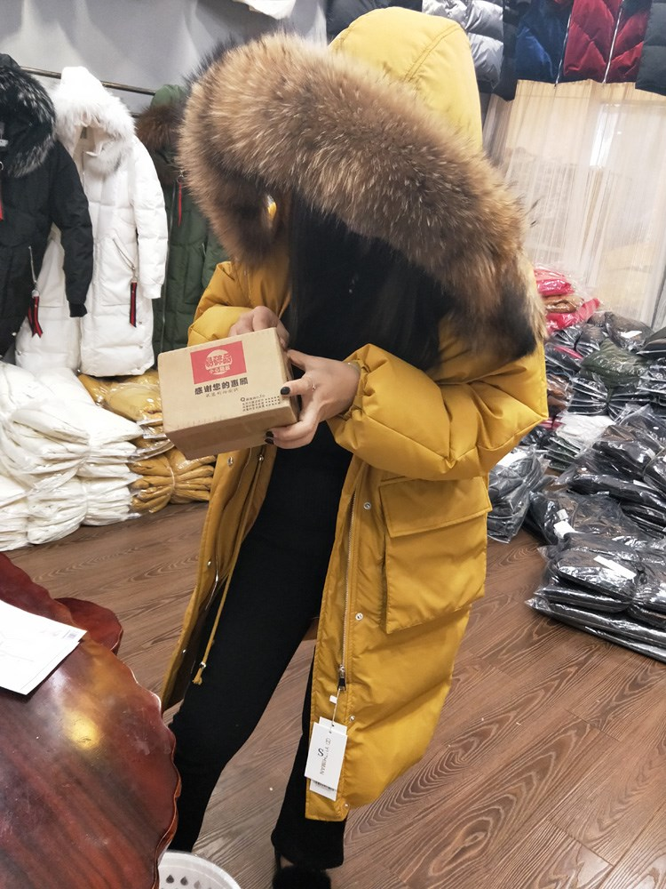 2020 women's duck down coat & jacket ladies winter clothing thick and warm with large raccoon dog fur hood black yellow white