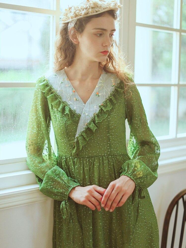 Verde vestido de Primavera Verano mujeres Vintage elegante exquisito encaje bordado con...