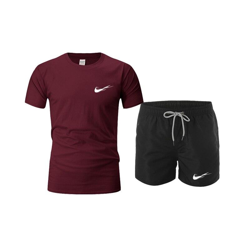 Calções de praia dos homens + camisa t conjunto de 2 peças 2021 verão nova marca casual terno agasalho masculino conjunto de praia esportiva