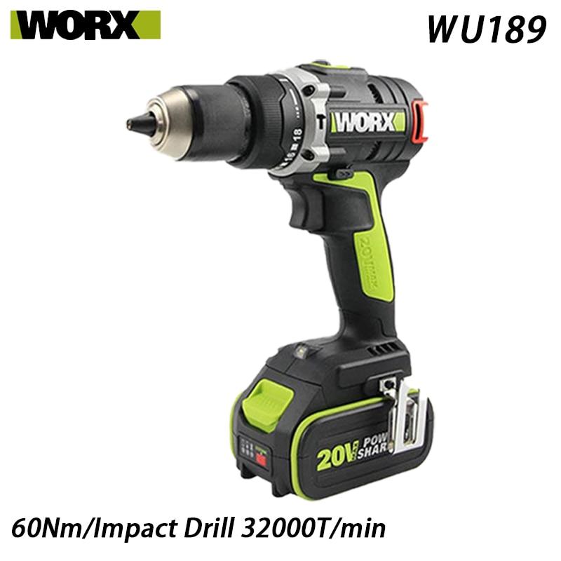 WORX-مثقاب مطرقي متعدد الوظائف ، مثقاب كهربائي 20 فولت ، WU189
