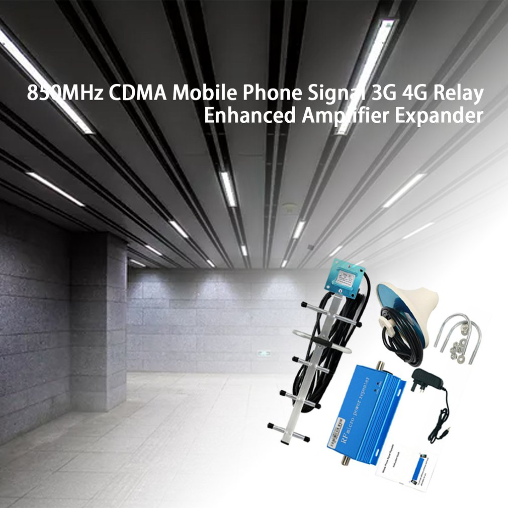 850MHz Repeater CDMA Cell Phone Signal 3G 4G Repeater Booster Amplifier Extender Set With Ceiling Antenna+Yagi Antenna UK