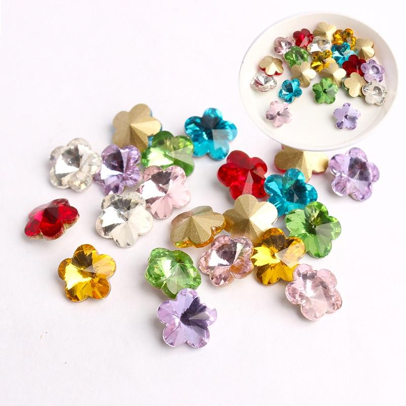 10mm mix cor flores prego strass cristal brilhante 3d strass gem pedra manicure arte do prego decoração encantos jóias
