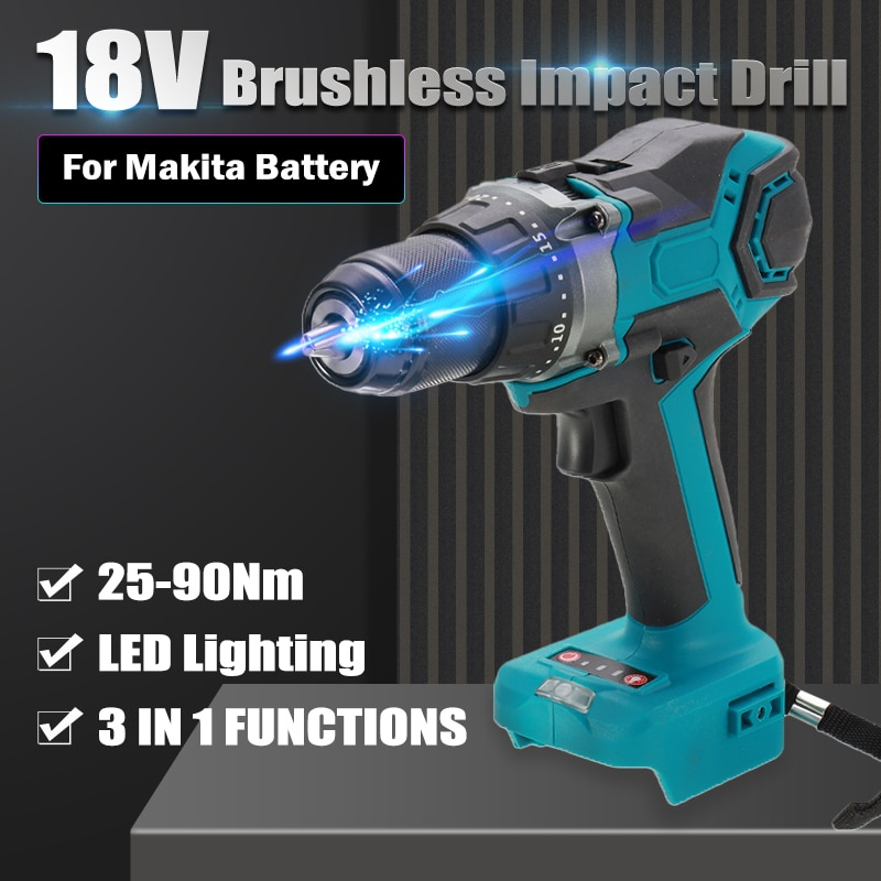 18V Electric Brushless Impact Drill 25-90Nm Cordless Screwdriver 13mm Hammer Drill With LED Light Rechargable For Makita Battery 3 in 1 13mm brushless electric hammer drill electric screwdriver 20 3 torque cordless impact drill for makita 18v battery