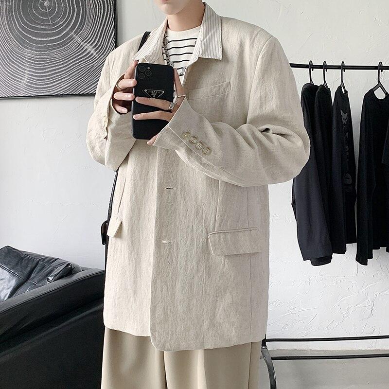 Черный бежевый пиджак Мужская мода деловое общество Мужская классическая куртка корейский Свободный Повседневный костюм куртка мужская о...
