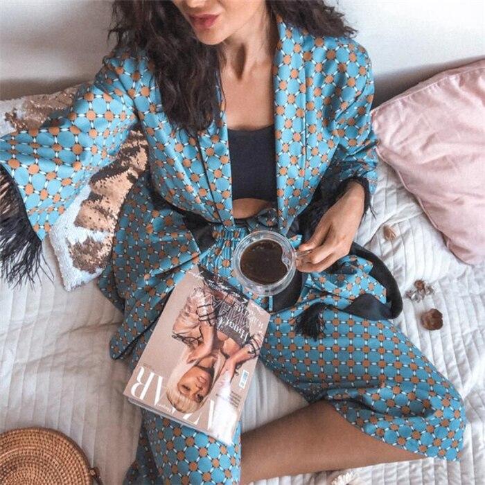 عالية الجودة 2 قطعة ثنى النساء الرجعية المطبوعة السراويل دعوى الأزرق المطبوعة كيمونو معطف فضفاض الترفيه دعوى معطف واسعة الساق السراويل دعوى