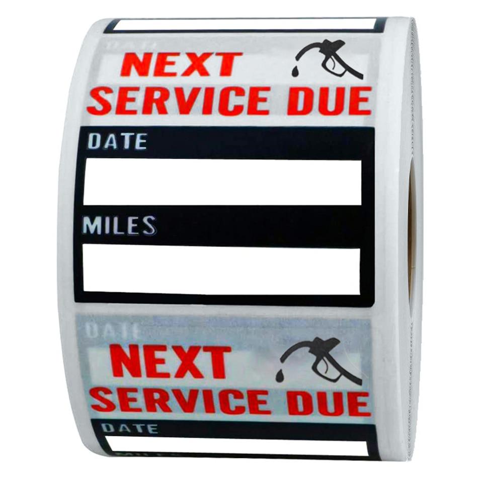 200 pçs mudança de óleo/lembrete serviço adesivos lables transparente 2x2 polegada mudança de óleo auto manutenção lembrete adesivo pacote
