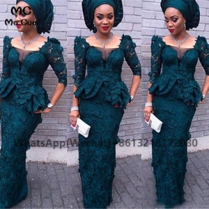 African Teal Mermaid Prom Evening Dresses Long Half Sleeves Satin Appliques Lace V-Back Women's Evening Gown Custom Made