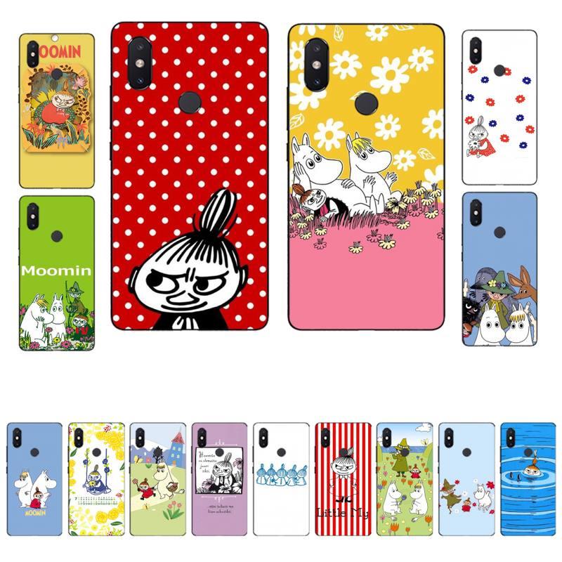 MaiYaCa divertido Moomin poco mi negro suave funda de teléfono para Xiaomi mi 5 6 plus 6x8 8se 8lite 9 9se 5x10 pro