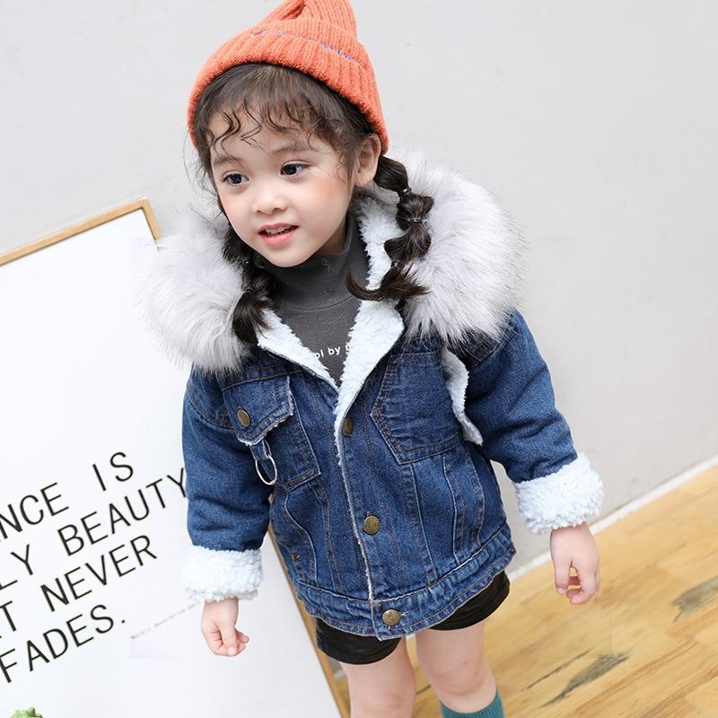 Bebê denim parka casacos de pele do falso com capuz engrossar quente infantil meninas casacos criança outerwear meninos inverno crianças casacos com pele