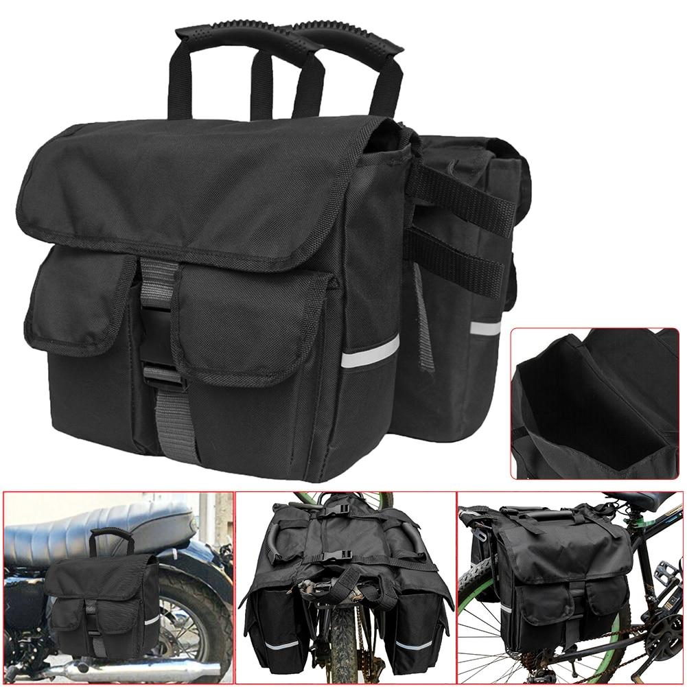 pu leather saddlebag motorcycle saddle bags l Black Motorcycle Bicycle Saddlebag Rear Seat Backpack Detachable Backseat Saddle Bag