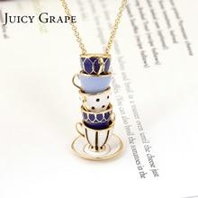 Raisin juteux peint à la main émail collier Bijoux tasse à thé pendentif longue chaîne collier ras du cou Bijoux Femme Bijuteria femmes