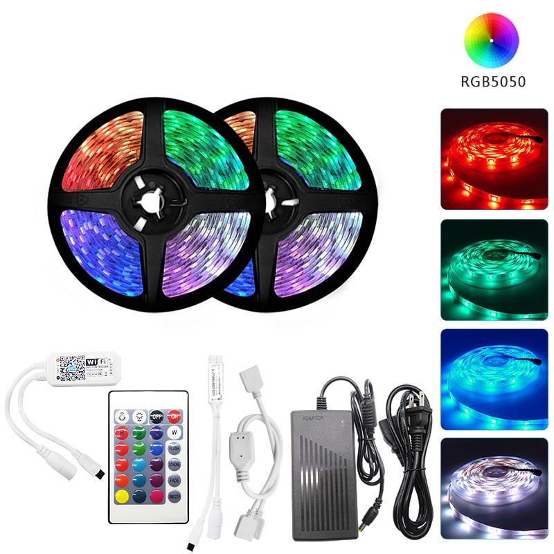 LED Strip 12V Ribbon LED Light Strip RGB Tape SMD 5050 2835 Flexible 5M 10M Diode Tape with Remote Backlight for Home Room kit