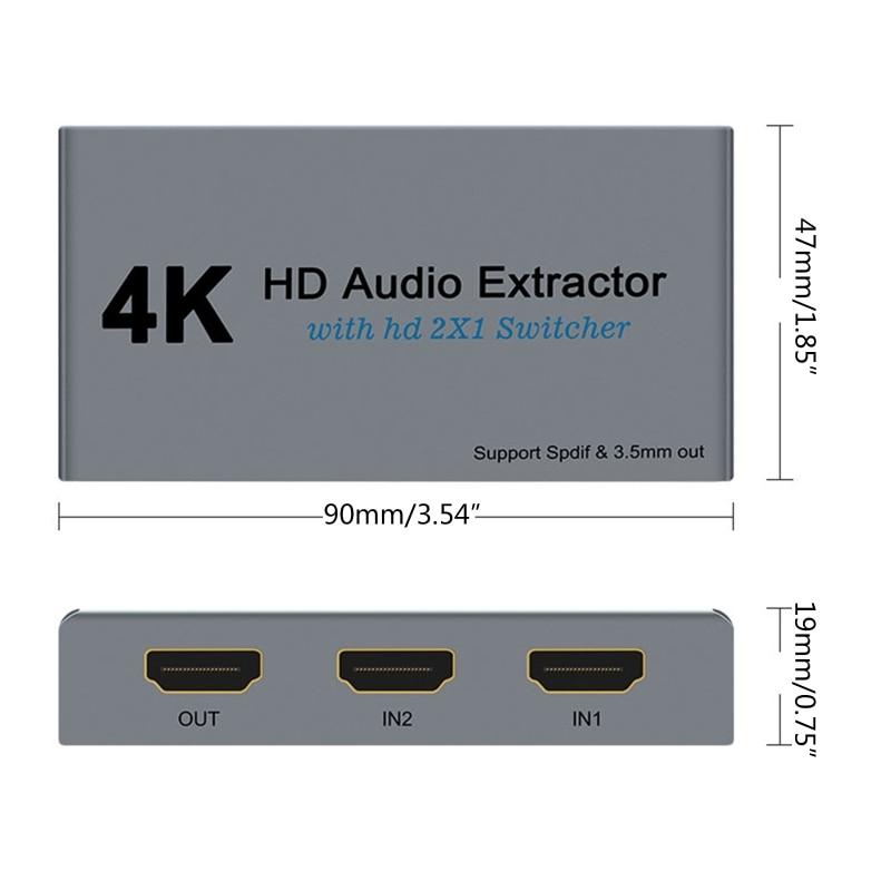 2021 New 4K 30Hz Extractor 2X1 Switcher Support Spdif 3.5mm HDMI-compatible