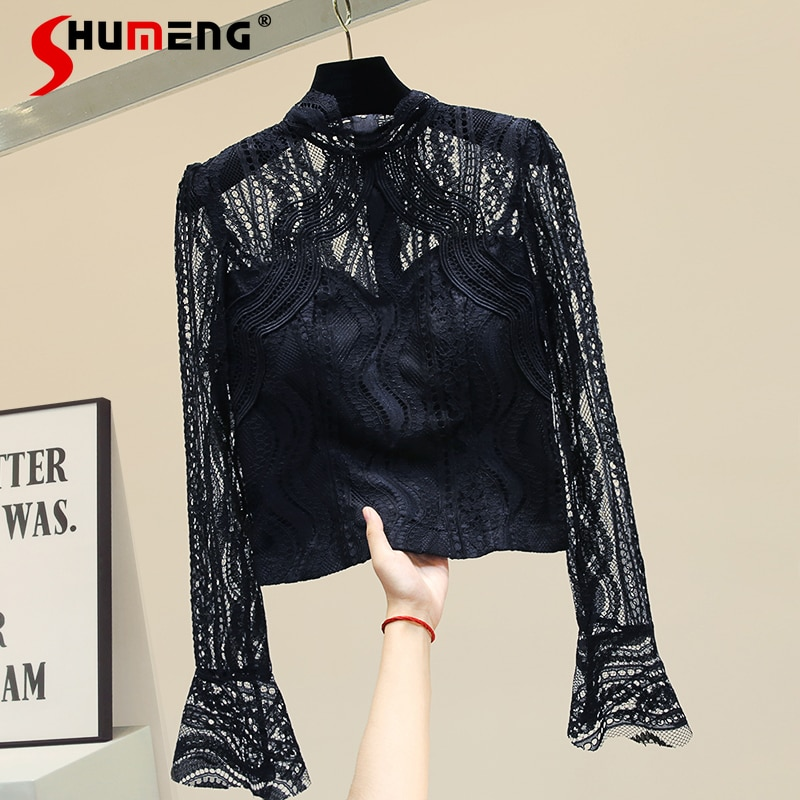 2021 جديد أوائل الخريف المرأة الدانتيل قصيرة جوفاء مثير قميص السيدات النمط الغربي موضة بسيطة بلوزة قمة الصلبة بلوفر ملون