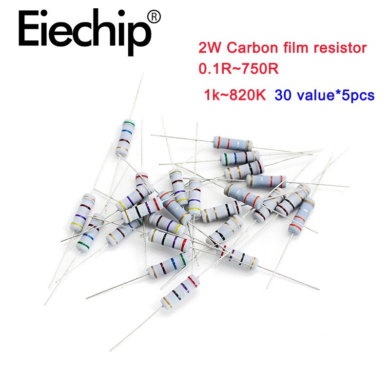 150pcs/lot 2W Metal film resistors 1% 1k~820K, Carbon film resistor 5% 0.1R-750R ,30 value  Wirewound resistance assortment kit 150pcs lot 5w power carbon film resistor kit assortment set 1k ohm 820k ohm 5