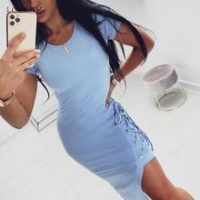 Tshirt Long Dress Summer Womens Blue Bandage Side Split Clothing Ladies Grey Tight Bodycon Midi 2020 Dresses For Women Summer