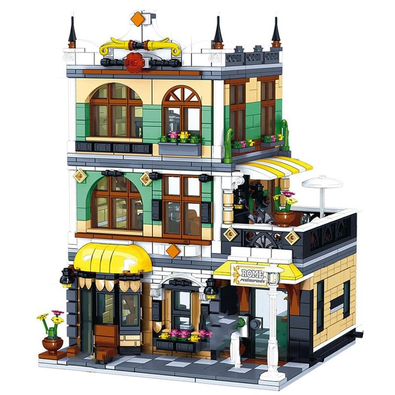 Arquitetura blocos de construção criador especialista técnica cidade rua europeia casas roma loja restaurante designer tijolos para crianças