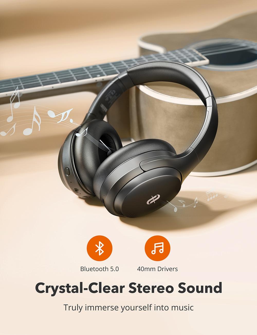 TaoTronics Bluetooth Headphones SoundLiberty 90 Hybrid Active Noise Cancelling Headphone ANC Hifi Wireless Headset with Mic enlarge