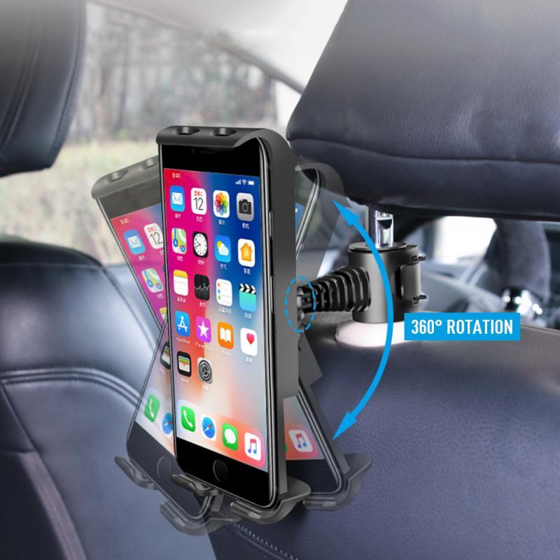 360 grados giratorio Universal coche asiento trasero del teléfono, soporte de la Tablet, IPad soporte de placa de soporte para Xiaomi IPhone HUAWEI IPad
