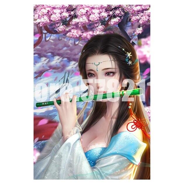 Flauta hada y Luna señora 5d Diy pintura de diamante punto de cruz bordado de diamantes paraguas belleza mosaico de diamantes completo regalos