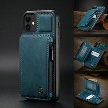 CaseMe Retro Leather Case For iPhone 12 11Pro Max Leather Card Slots Wallet Back Case For iPhone 12