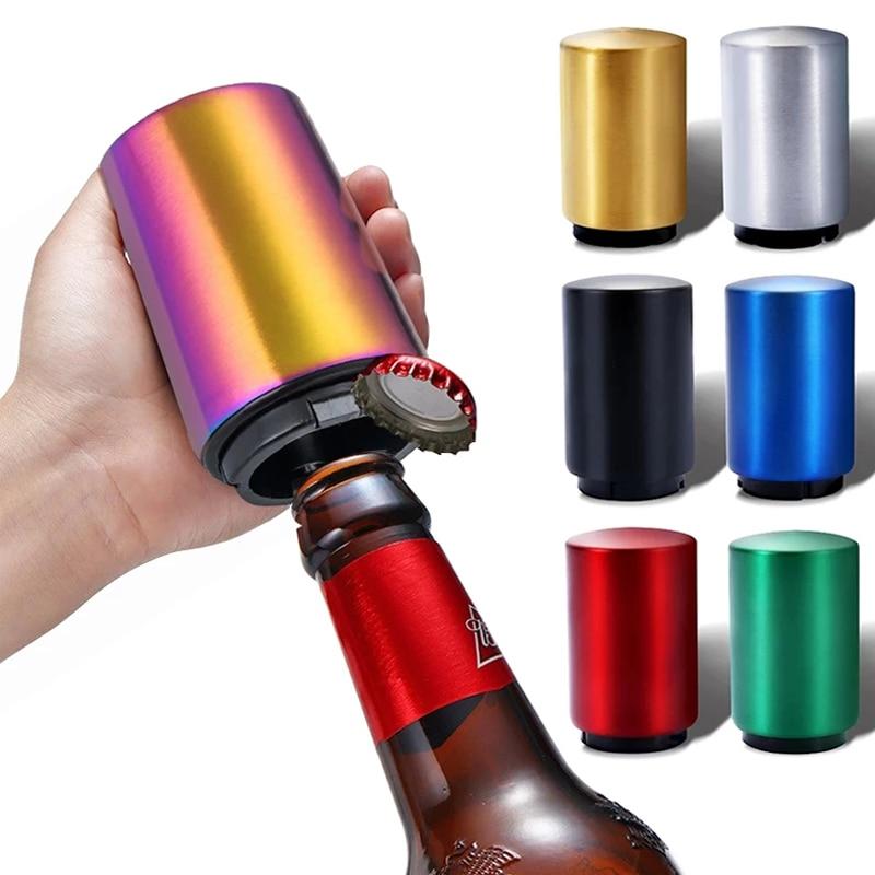 AliExpress - Stainless Steel Beer Wine Opener,Magnet-Automatic Beer Bottle Opener Push Down Bottle Opener Kitchen Gadgets Bar Supplies