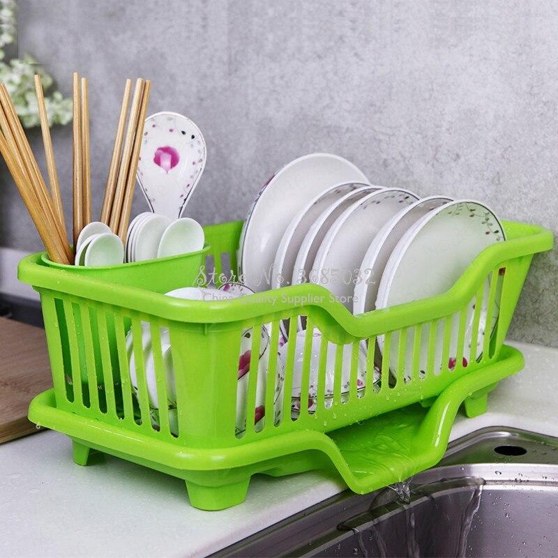 Nueva vajilla de plástico barata, fregadero, tendedero, fregadero de secado automático, cocina de una sola capa, pequeños platos de almacenamiento, palillos, secador, escurridor
