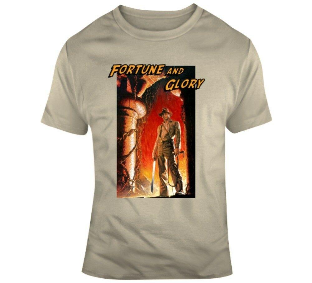 Футболка с надписью «Fortune & Glory Indiana Jones», «Doom Movie Parody Fan»